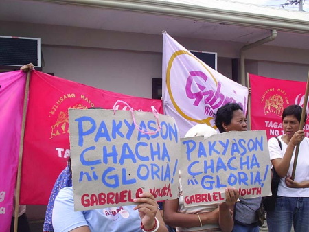 Activists protesting in front of Nograles's office in Davao